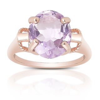Dolce Giavonna Rose Gold Over Sterling Silver Amethyst Solitaire Ring