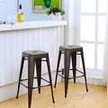 Adeco 30 inch Metal Tolix Style Industrial Chic Chair Counter Stool Barstool