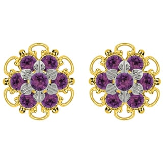 Lucia Costin Gold Over Silver Violet Crystal Stud Earrings