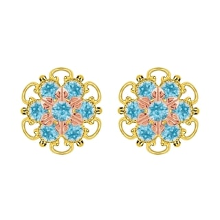 Lucia Costin Gold Over Silver Light Blue Crystal Stud Earrings