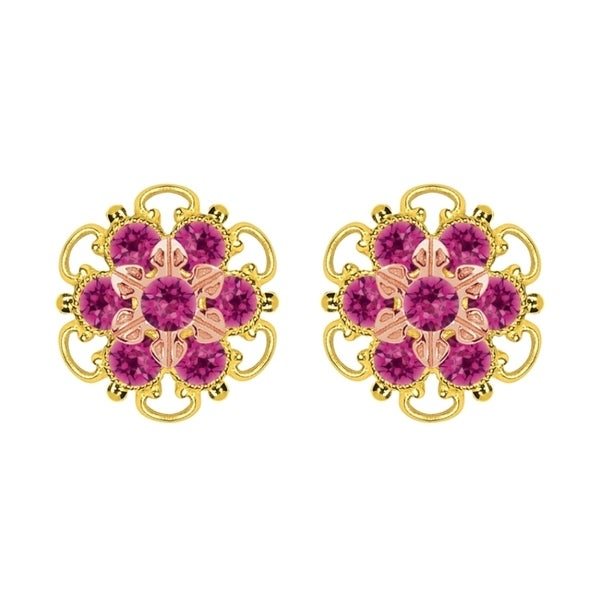 Lucia Costin Gold Over Silver Fuchsia Crystal Stud Earrings