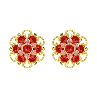 Lucia Costin Gold Over Silver Red Crystal Stud Earrings