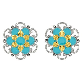 Lucia Costin Gold Over Sterling Silver Turquoise Crystal Stud Earrings