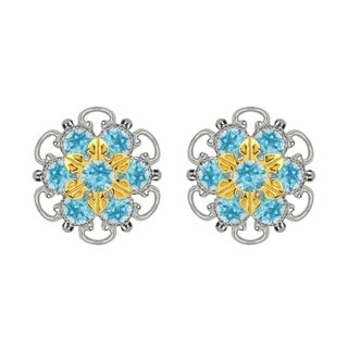 Lucia Costin Gold Over Sterling Silver Light Blue Crystal Stud Earrings