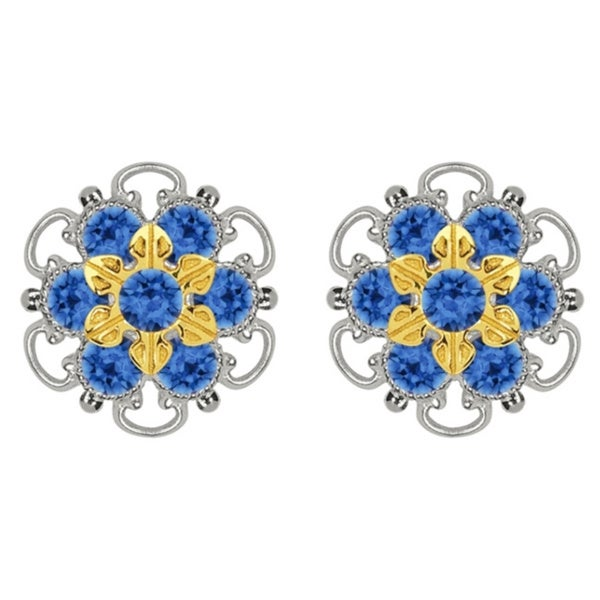 Lucia Costin Gold Over Sterling Silver Blue Crystal Stud Earrings