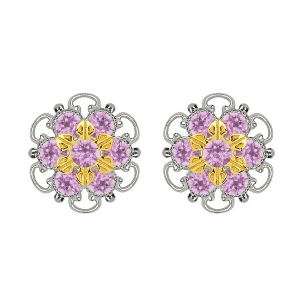 Lucia Costin Gold Over Sterling Silver Lilac Crystal Stud Earrings