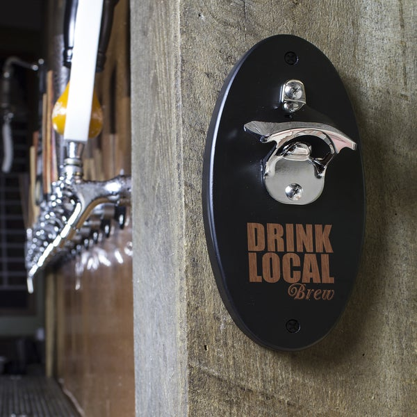 Drink Local Black Wall Mounted Bottle Opener