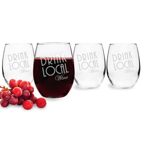 Drink Local Stemless Wine Glasses (Set of 4)
