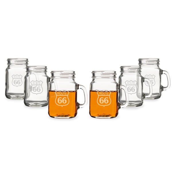 Route 66 Mini Drinking Jar Shot Glasses (Set of 6)