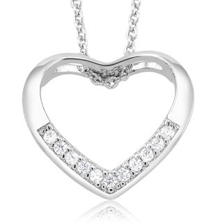 Rhodium-plated Cubic Zirconia Open Heart Necklace