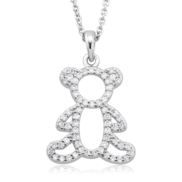 Rhodium-plated Cubic Zirconia Teddy Bear Necklace