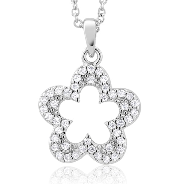 Rhodium-plated Cubic Zirconia Open Flower Necklace