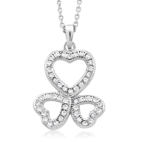 Rhodium-plated Cubic Zirconia Triple Heart Necklace