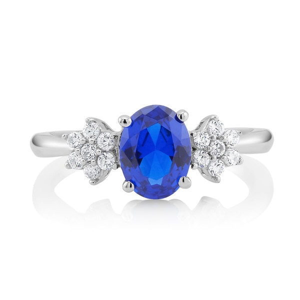 Sterling Silver Blue Oval Sapphire and Cubic Zirconia Ring