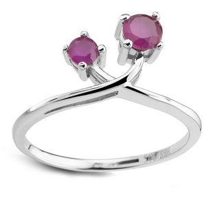 Sterling Silver Double Round Ruby Ring