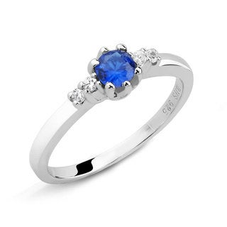 Sterling Silver Blue Round Sapphire and Cubic Zirconia Ring