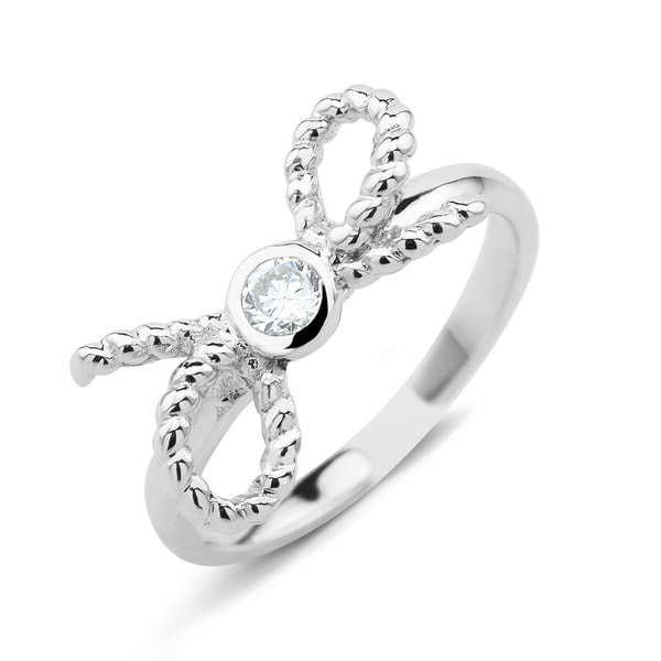 Sterling Silver Cubic Zirconia Bow Midi Ring