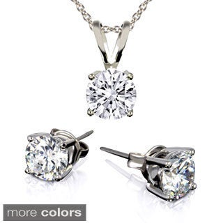 Sterling Silver Birthstone Round Cubic Zirconia Stud Earrings and Necklace Set