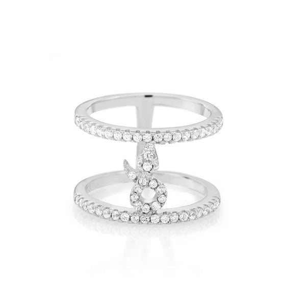 Sterling Silver Baguette-cut Cubic Zirconia Double-row Circle Ring