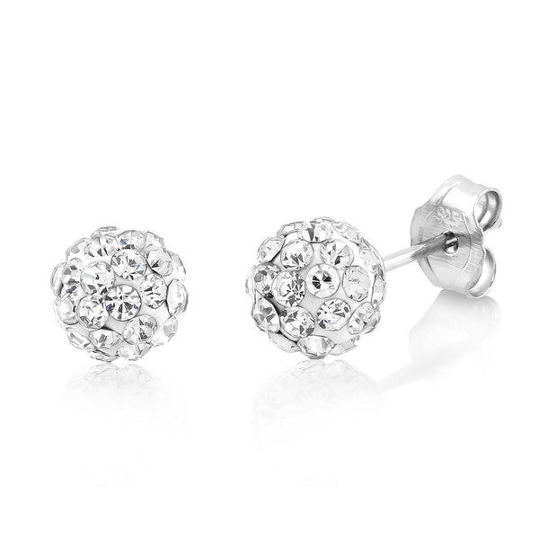 Sterling Silver 6mm Round Crystal Ball Stud Earrings