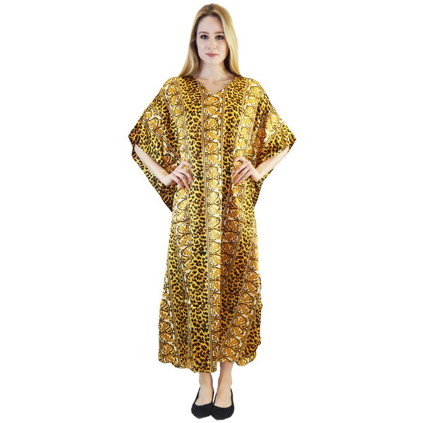 Vecceli Italy Women's 3/4-sleeve Animal Print Kaftan Dress