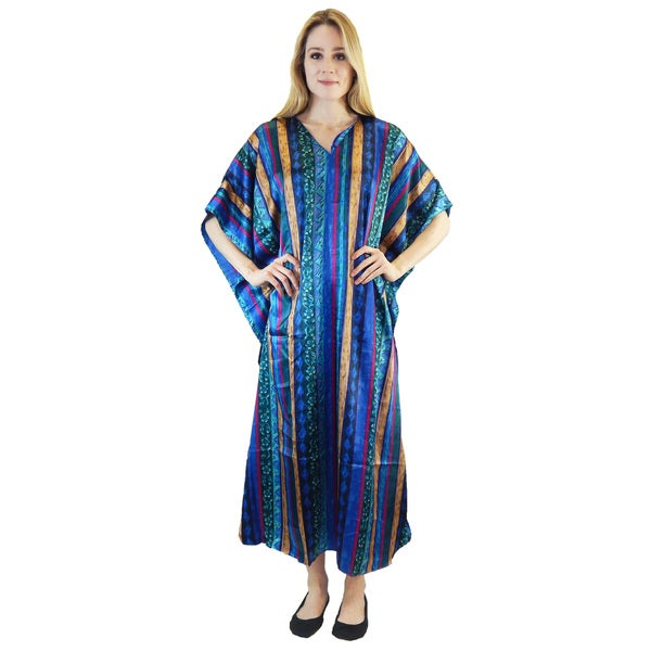 Vecceli Italy Women's 3/4-sleeve Blue Stripe Print Kaftan Dress