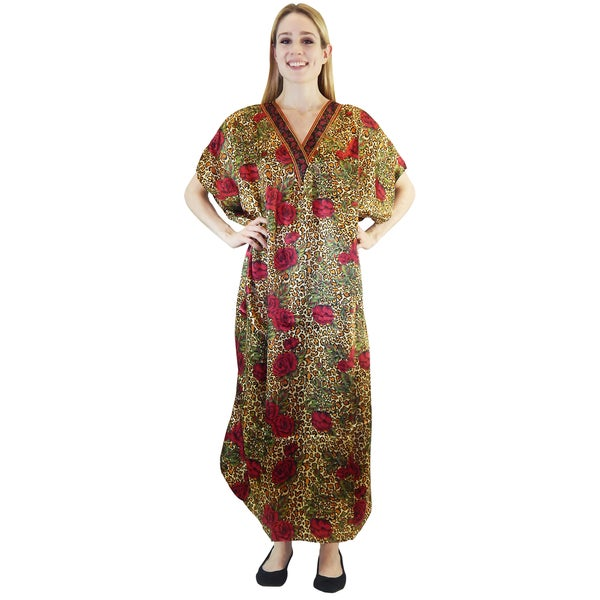 Vecceli Italy Women's 3/4-sleeve Floral Animal Print Kaftan Dress