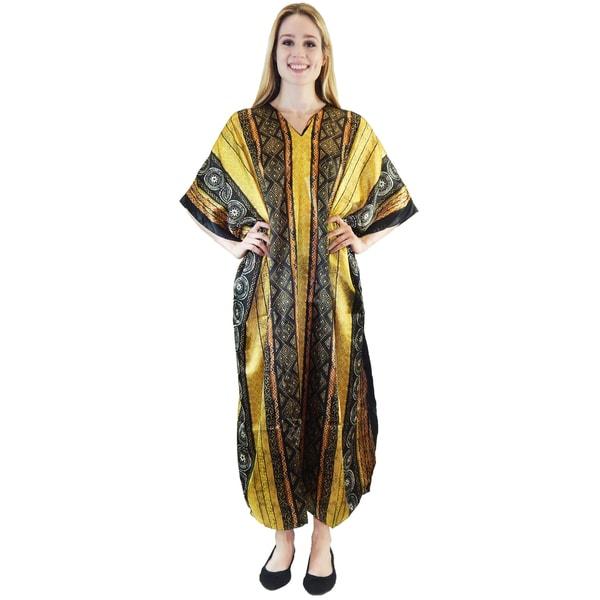 Vecceli Italy Women's 3/4-sleeve Gold Geo Print Kaftan Dress