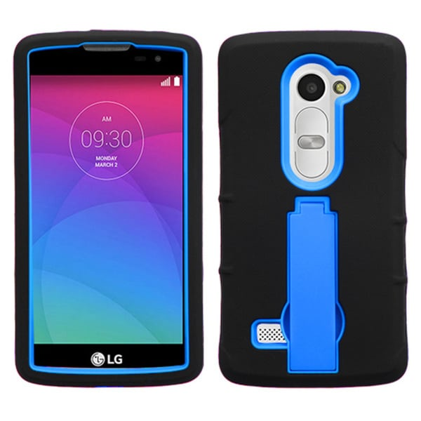 Insten Black/Blue Symbiosis Soft Silicone/ PC Dual Layer Hybrid Rubber Phone Case Cover with Stand
