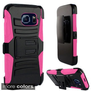 Insten Black/Hot Pink Hard PC/ Silicone Dual Layer Hybrid Phone Case Cover with Holster For Samsung Galaxy S6 Edge