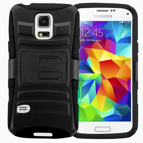 Insten Black Hard PC/ Silicone Dual Layer Hybrid Phone Case Cover with Stand For Samsung Galaxy S5 Mini
