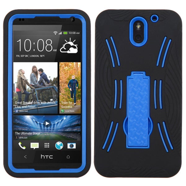 Insten Black/Blue Soft Silicone/ PC Dual Layer Hybrid Rubber Phone Case Cover with Stand For HTC Desire 610