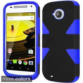 Insten Teal/Red Dynamic Hard PC/ Silicone Dual Layer Hybrid Rubberized Matte Phone Case Cover For Motorola Moto E(2nd Gen)