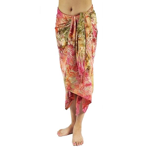 Hand-dyed Batik Red Sarong/ Scarf (Bali)