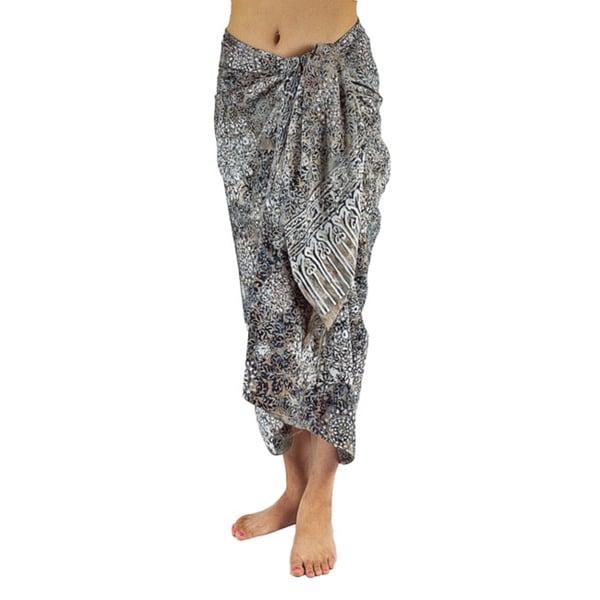 Hand-dyed Batik White Sarong/ Scarf (Bali)