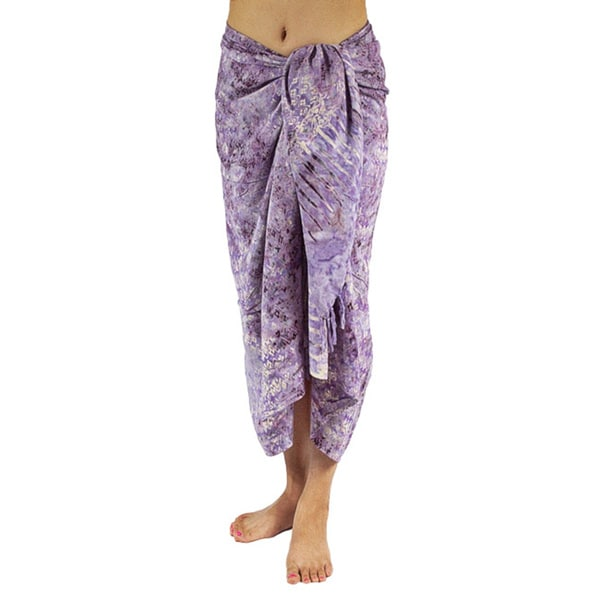 Hand-dyed Batik Purple Sarong/ Scarf (Bali)