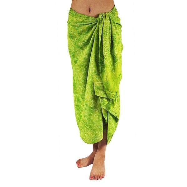 Hand-dyed Batik Floral Green Sarong/ Scarf (Bali)