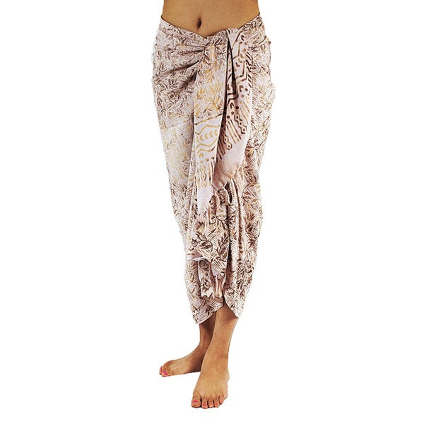 Hand-dyed and Stamp Batik White Sarong/ Scarf (Bali)