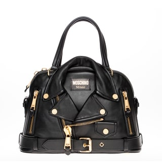 Moschino Biker Jacket Black Leather Satchel