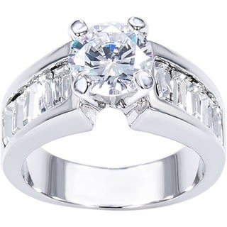 Simon Frank Classic Round and Channel-set Baguette Cubic Zirconia Bridal-inspired Ring