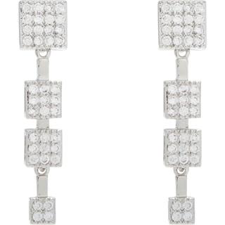 Simon Frank Silvertone Cubic Zirconia Elegant Evening Drop Earrings