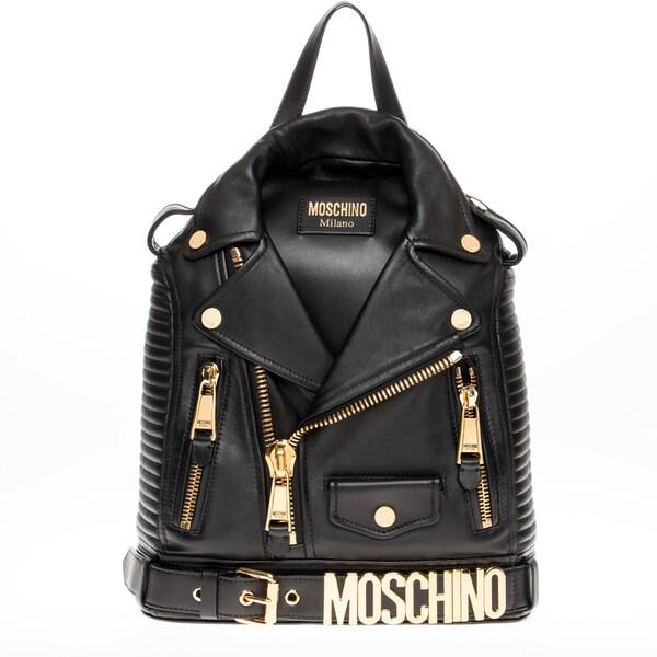 Moschino Moto Jacket Black Leather Backpack