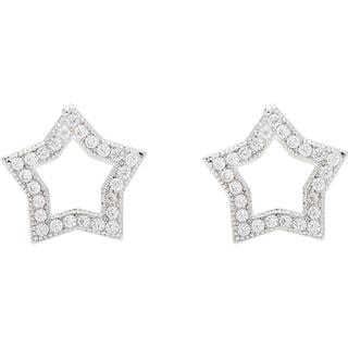 Simon Frank Silvertone 'Star Bright' Star Cubic Zirconia Earrings
