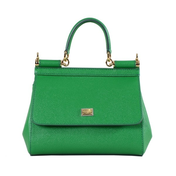 Dolce & Gabbana Sicily Kelly Green Leather Micro Bag