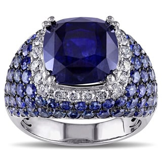 Miadora 18k White Gold Blue Sapphire and 1/2ct TDW Diamond Ring (G-H, SI1-SI2)