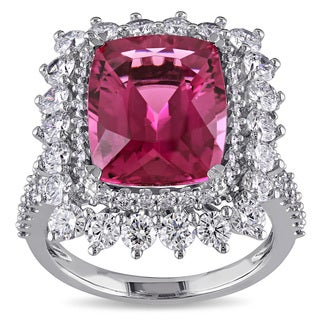Miadora 14k White Gold Pink Tourmaline and 2ct TDW Diamond Cocktail Ring (G-H, SI1-SI2)