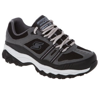 Skechers 50124 Memory Foam Footbed Charcoal Leather/Mesh Overlay Lace Up Sneaker