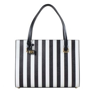 Dolce & Gabbana Black and White Striped Leather Shopper Bag