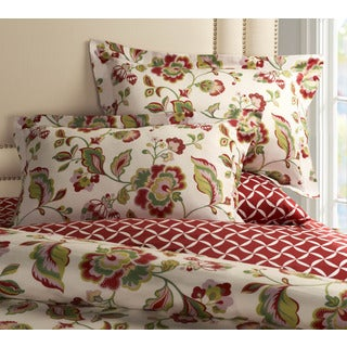 Jennifer Taylor Cherry Red Floral 3-piece Duvet Set