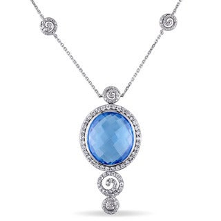 Miadora 14k White Gold Blue Topaz 3/4ct TDW Diamond Drop Necklace (G-H, SI1-SI2)
